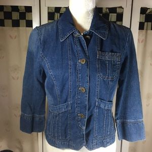 DKNY 3/4 Sleeve Button Down Jeans Jacket